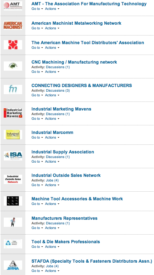LinkedIn Industrial Channel Groups