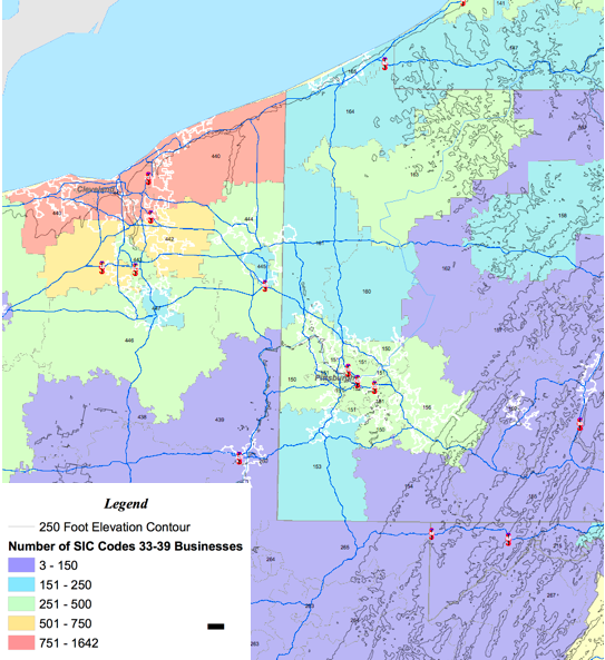 SIC 33-39 Map Of Business NE-OH/W-PA