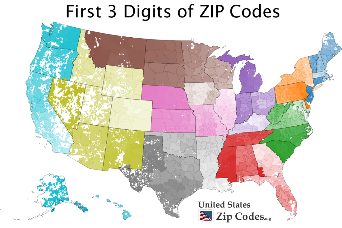 Three Digit Zip Code Map United States